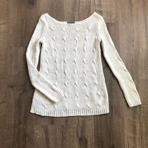 Vince Ivory Cable Knit Chunky Lounge Sweater